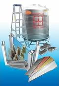 aluminium composite panel, aluminium extrusions, float glass, ladders, water tank, floor strainer